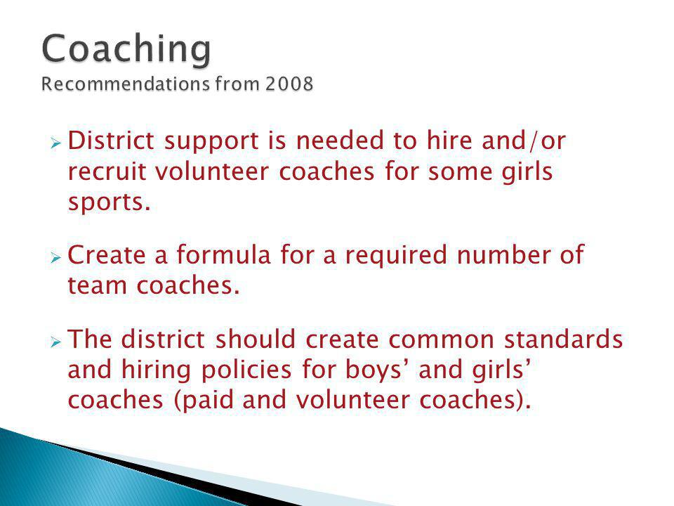  District support is needed to hire and/or recruit volunteer coaches for some girls sports.