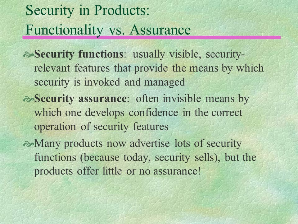 Security in Products: Functionality vs.
