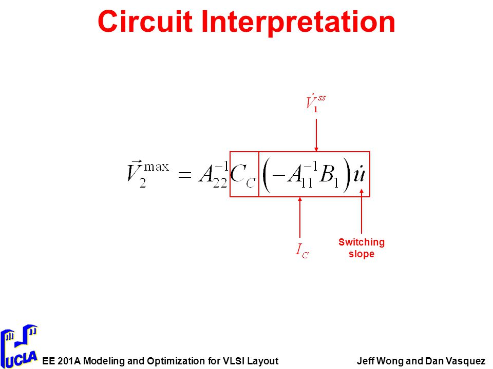 EE 201A Modeling and Optimization for VLSI LayoutJeff Wong and Dan Vasquez Circuit Interpretation Switching slope