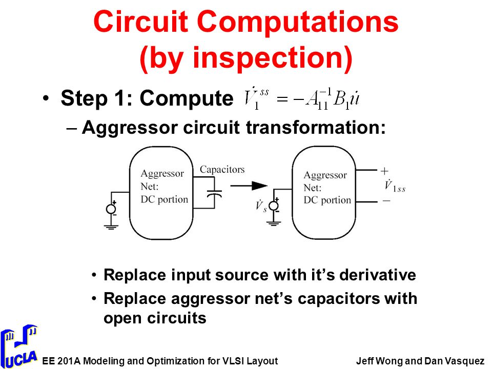 EE 201A Modeling and Optimization for VLSI LayoutJeff Wong and Dan Vasquez Circuit Computations (by inspection) Step 1: Compute –Aggressor circuit transformation: Replace input source with it's derivative Replace aggressor net's capacitors with open circuits