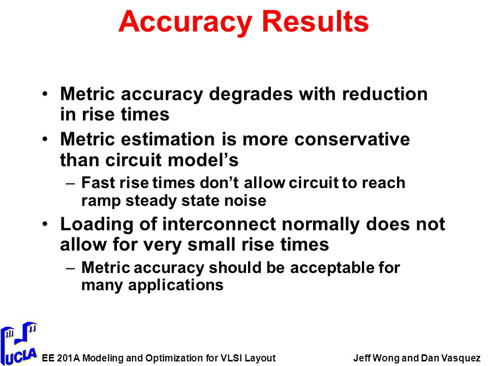 EE 201A Modeling and Optimization for VLSI LayoutJeff Wong and Dan Vasquez Accuracy Results Metric accuracy degrades with reduction in rise times Metric estimation is more conservative than circuit model's –Fast rise times don't allow circuit to reach ramp steady state noise Loading of interconnect normally does not allow for very small rise times –Metric accuracy should be acceptable for many applications