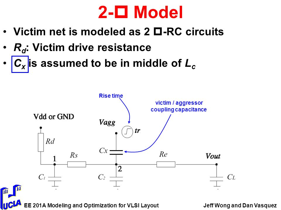 EE 201A Modeling and Optimization for VLSI LayoutJeff Wong and Dan Vasquez 2-  Model Victim net is modeled as 2  -RC circuits R d : Victim drive resistance C x is assumed to be in middle of L c Rise time victim / aggressor coupling capacitance