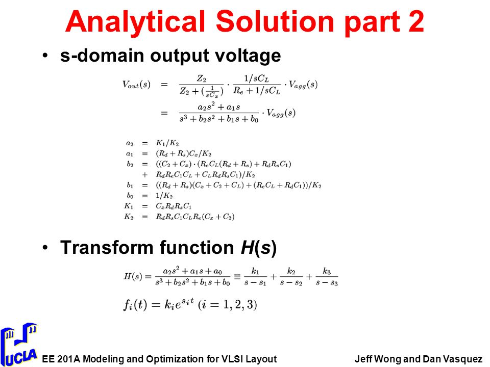 EE 201A Modeling and Optimization for VLSI LayoutJeff Wong and Dan Vasquez Analytical Solution part 2 s-domain output voltage Transform function H(s)