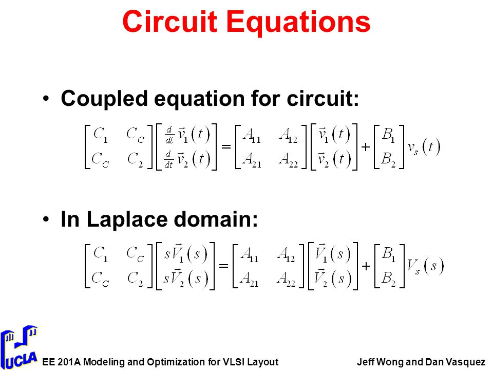 EE 201A Modeling and Optimization for VLSI LayoutJeff Wong and Dan Vasquez Circuit Equations Coupled equation for circuit: In Laplace domain: