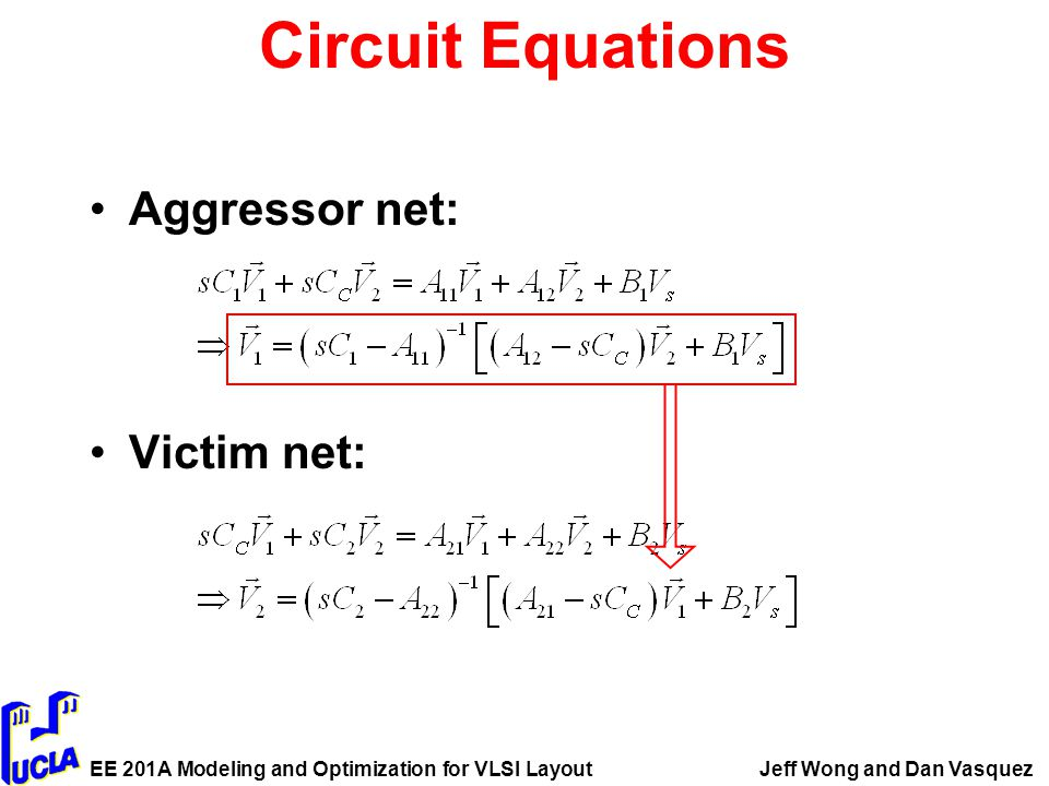 EE 201A Modeling and Optimization for VLSI LayoutJeff Wong and Dan Vasquez Circuit Equations Aggressor net: Victim net: