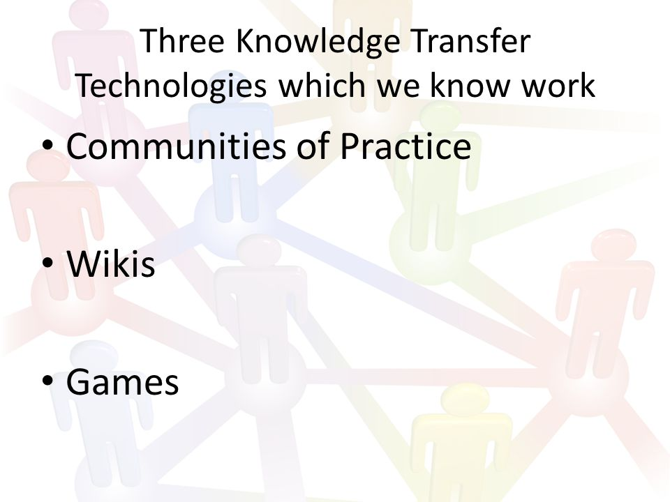 Three Knowledge Transfer Technologies which we know work Communities of Practice Wikis Games