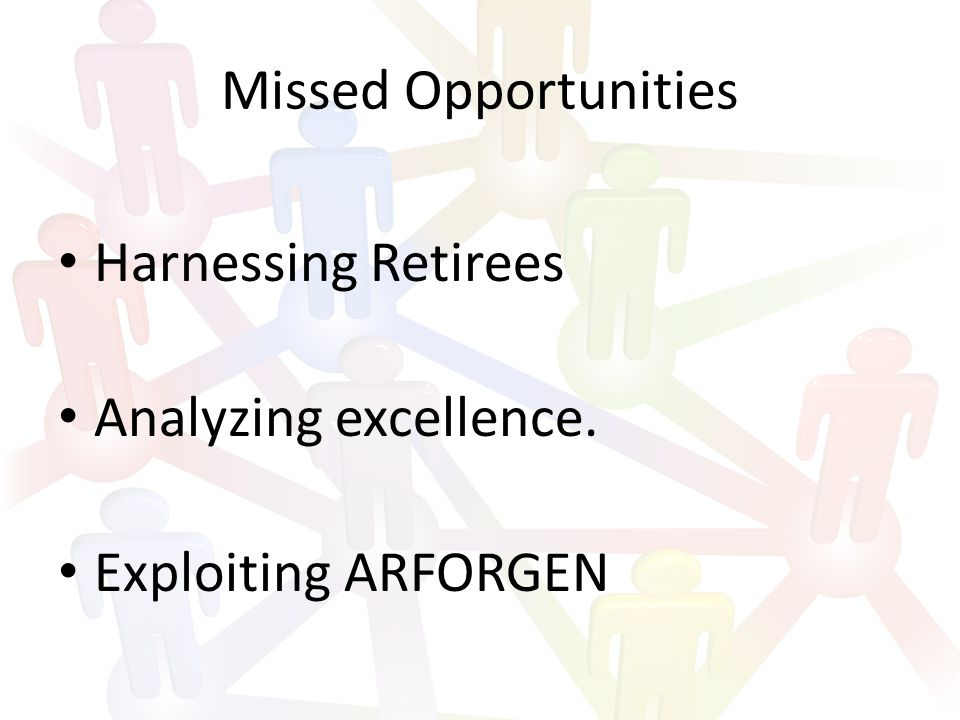 Missed Opportunities Harnessing Retirees Analyzing excellence. Exploiting ARFORGEN