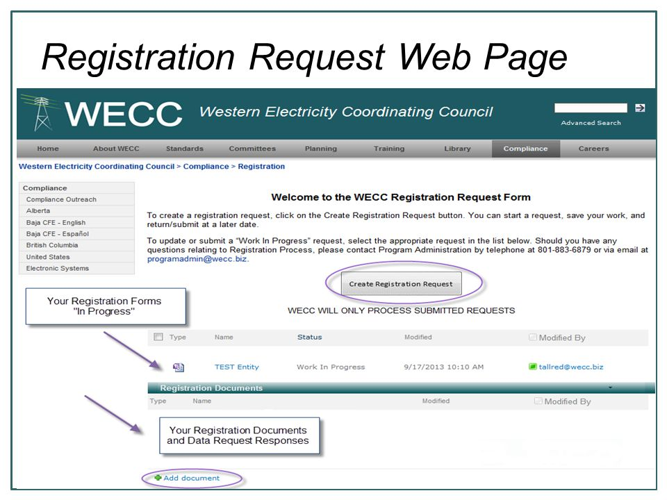 6 Registration Request Web Page