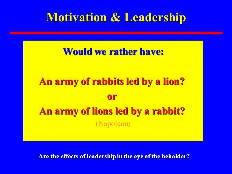 Motivation & Leadership Are the effects of leadership in the eye of the beholder.
