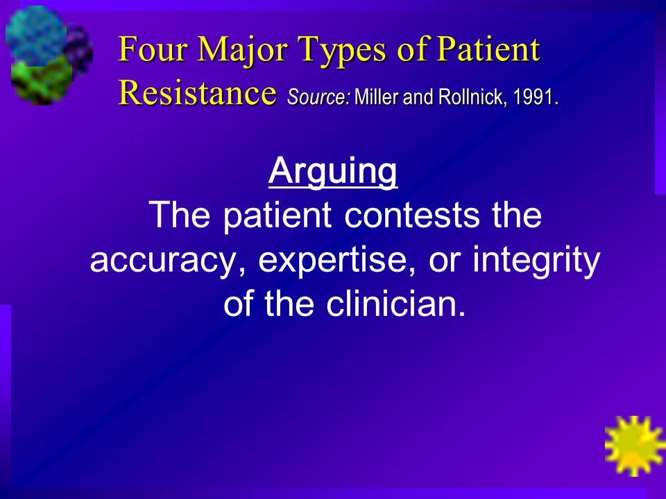 Four Major Types of Patient Resistance Source: Miller and Rollnick, 1991.