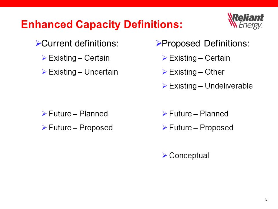 5 Enhanced Capacity Definitions:  Current definitions:  Existing – Certain  Existing – Uncertain  Future – Planned  Future – Proposed  Proposed Definitions:  Existing – Certain  Existing – Other  Existing – Undeliverable  Future – Planned  Future – Proposed  Conceptual