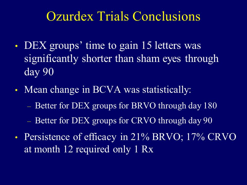 Ozurdex Trials Conclusions DEX groups' time to gain 15 letters was significantly shorter than sham eyes through day 90 Mean change in BCVA was statistically: – Better for DEX groups for BRVO through day 180 – Better for DEX groups for CRVO through day 90 Persistence of efficacy in 21% BRVO; 17% CRVO at month 12 required only 1 Rx
