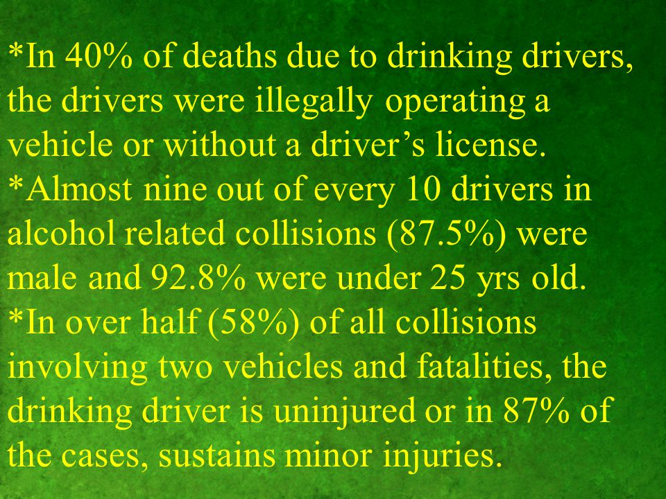 *In 40% of deaths due to drinking drivers, the drivers were illegally operating a vehicle or without a driver's license.