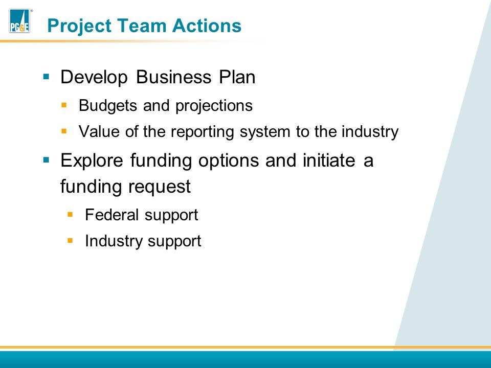 Project Team Actions  Develop Business Plan  Budgets and projections  Value of the reporting system to the industry  Explore funding options and initiate a funding request  Federal support  Industry support