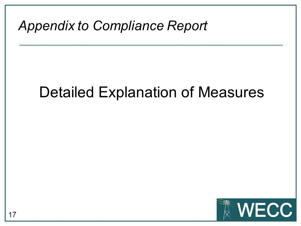 17 Detailed Explanation of Measures Appendix to Compliance Report