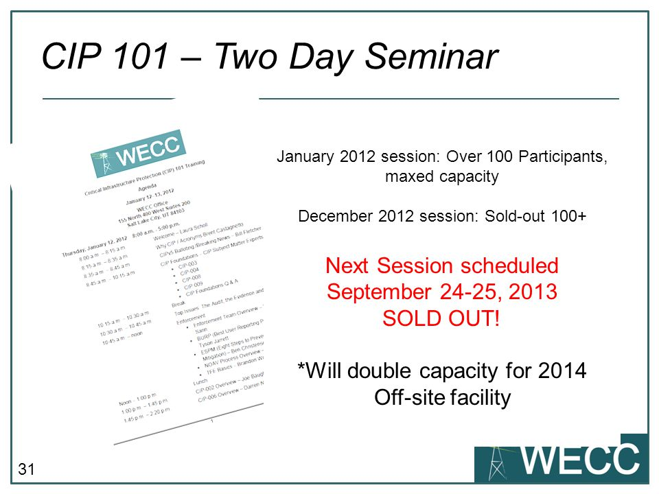 31 CIP 101 – Two Day Seminar January 2012 session: Over 100 Participants, maxed capacity December 2012 session: Sold-out 100+ Next Session scheduled September 24-25, 2013 SOLD OUT.