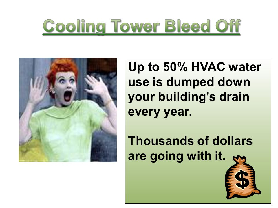 Up to 50% HVAC water use is dumped down your building's drain every year.