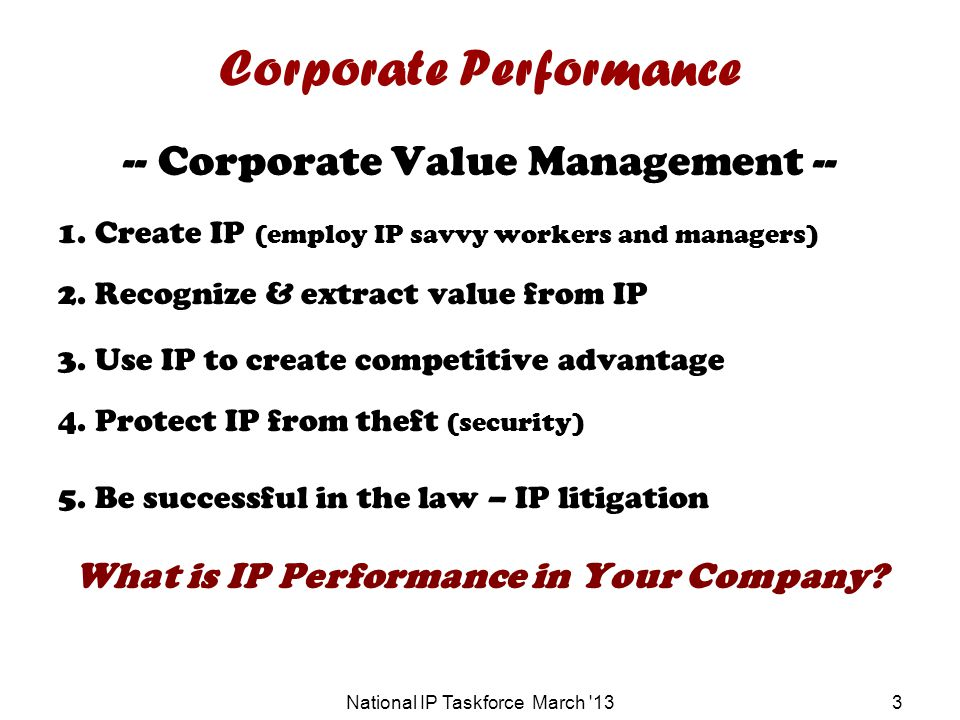 National IP Taskforce March 133 Corporate Performance -- Corporate Value Management -- 1.