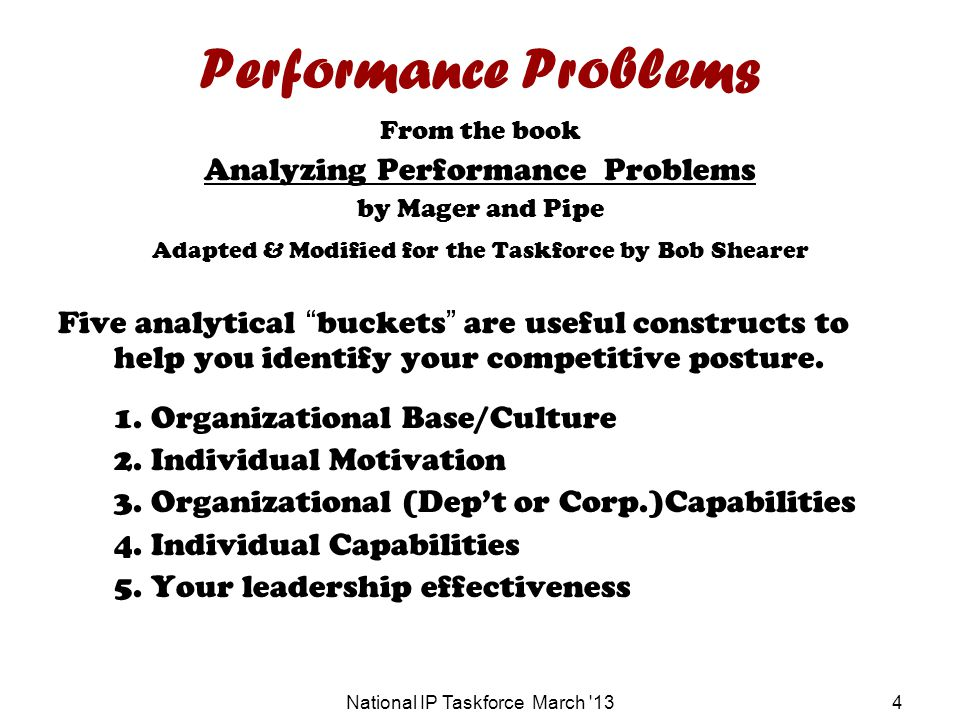 National IP Taskforce March 134 Performance Problems From the book Analyzing Performance Problems by Mager and Pipe Adapted & Modified for the Taskforce by Bob Shearer Five analytical buckets are useful constructs to help you identify your competitive posture.