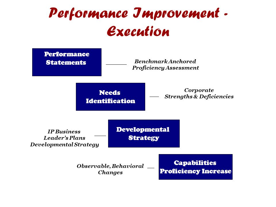 Performance Improvement - Execution Performance Statements Needs Identification Developmental Strategy Capabilities Proficiency Increase Benchmark Anchored Proficiency Assessment Corporate Strengths & Deficiencies IP Business Leader's Plans Developmental Strategy Observable, Behavioral Changes