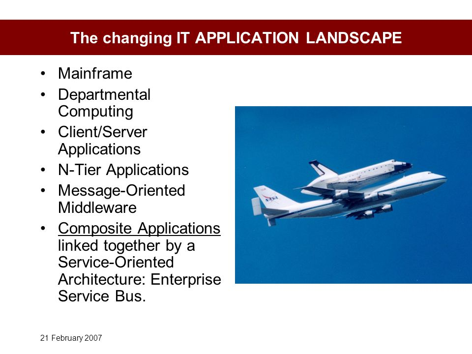 21 February 2007 The changing IT APPLICATION LANDSCAPE Mainframe Departmental Computing Client/Server Applications N-Tier Applications Message-Oriented Middleware Composite Applications linked together by a Service-Oriented Architecture: Enterprise Service Bus.
