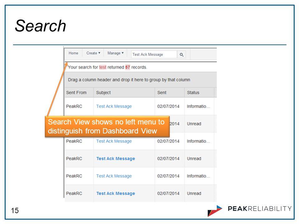 15 Search Search View shows no left menu to distinguish from Dashboard View