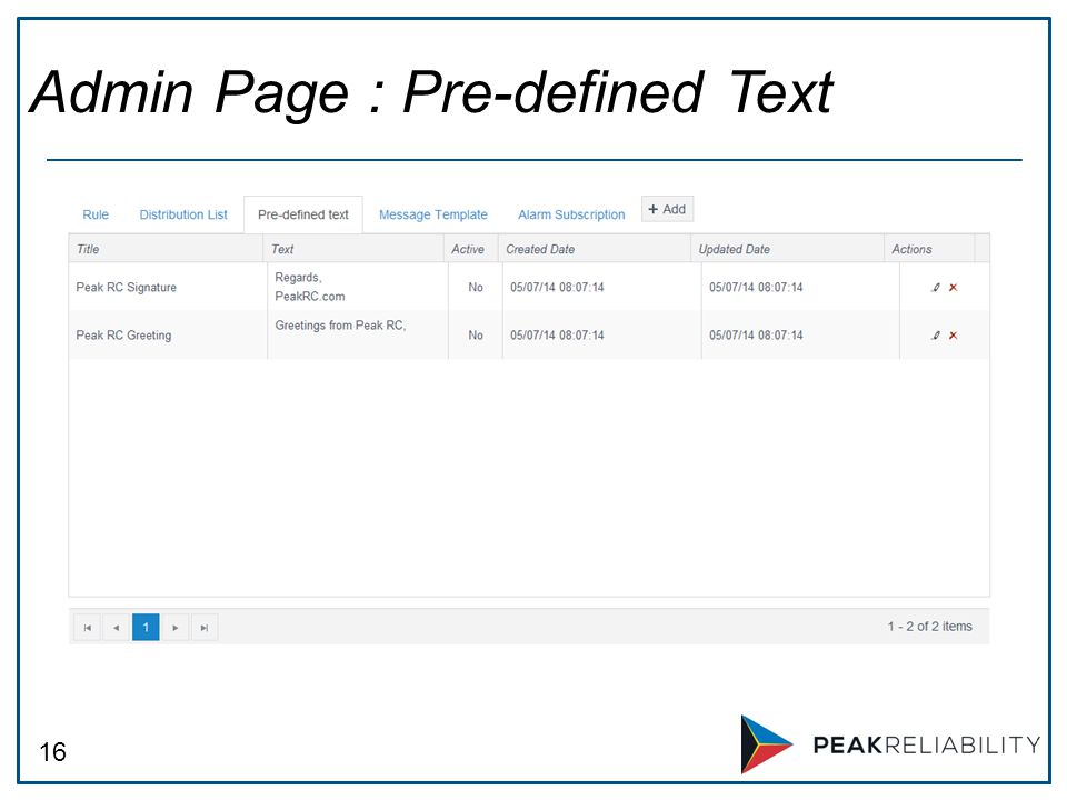 16 Admin Page : Pre-defined Text