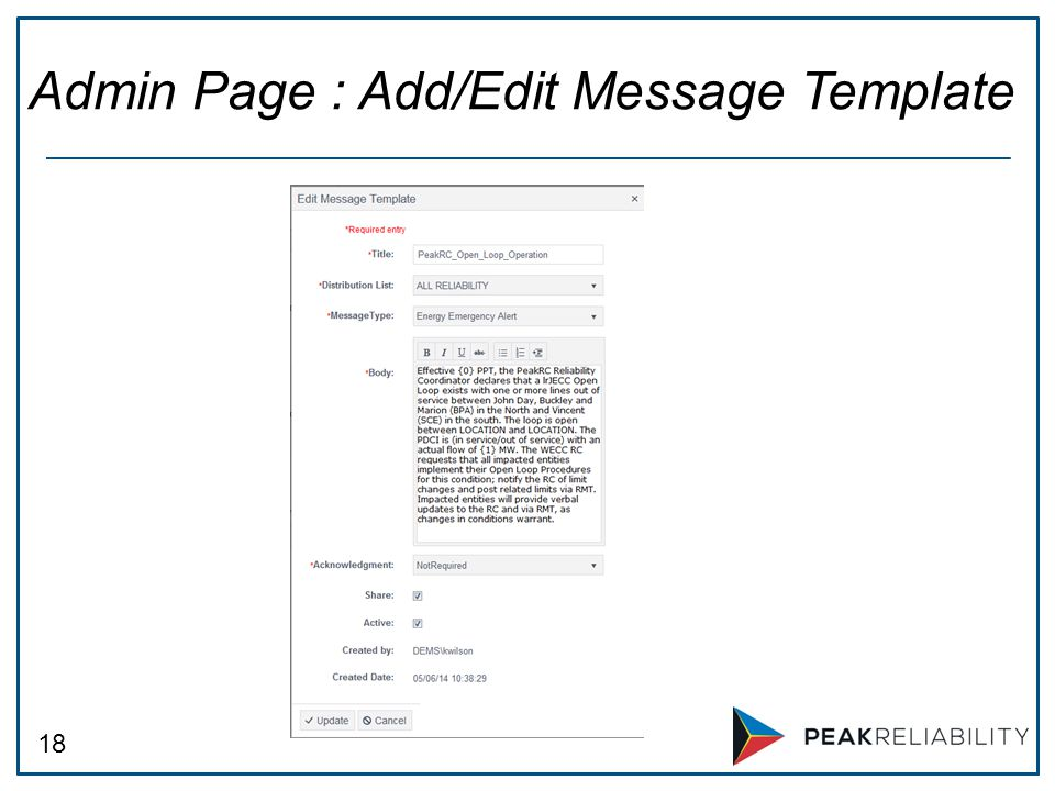 18 Admin Page : Add/Edit Message Template