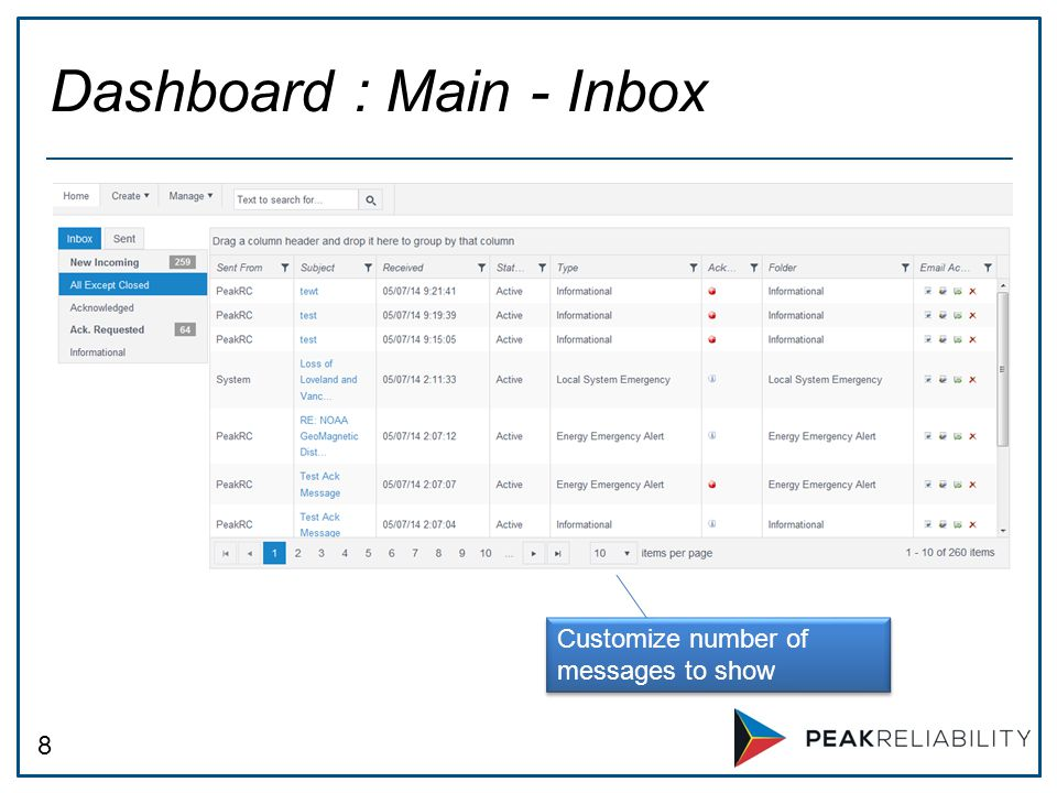 8 Dashboard : Main - Inbox Customize number of messages to show