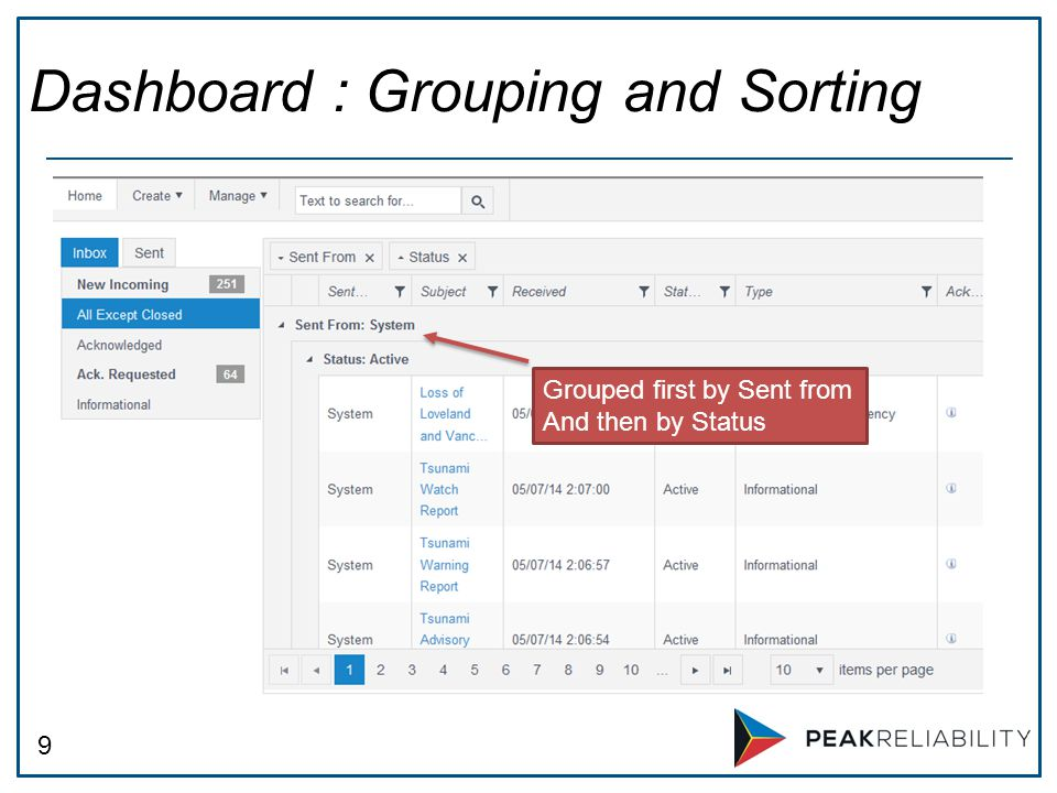 9 Dashboard : Grouping and Sorting Grouped first by Sent from And then by Status