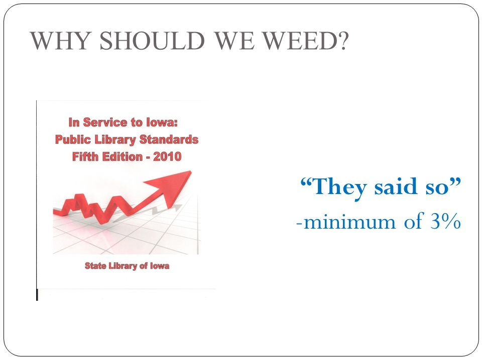 WHY SHOULD WE WEED They said so -minimum of 3%