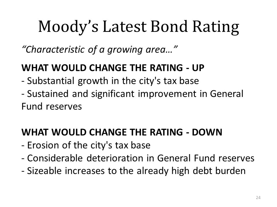 Moody's Latest Bond Rating 24 Characteristic of a growing area… WHAT WOULD CHANGE THE RATING - UP - Substantial growth in the city s tax base - Sustained and significant improvement in General Fund reserves WHAT WOULD CHANGE THE RATING - DOWN - Erosion of the city s tax base - Considerable deterioration in General Fund reserves - Sizeable increases to the already high debt burden