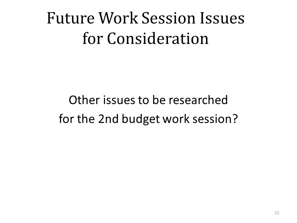 Future Work Session Issues for Consideration Other issues to be researched for the 2nd budget work session.