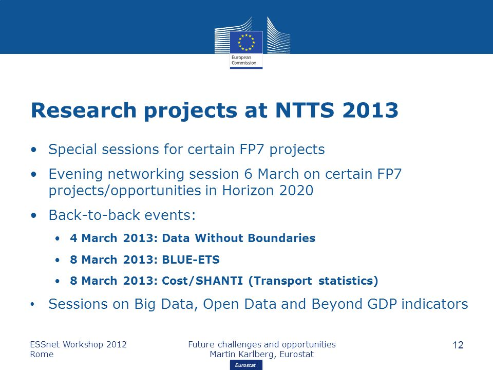 Eurostat Research projects at NTTS 2013 Special sessions for certain FP7 projects Evening networking session 6 March on certain FP7 projects/opportunities in Horizon 2020 Back-to-back events: 4 March 2013: Data Without Boundaries 8 March 2013: BLUE-ETS 8 March 2013: Cost/SHANTI (Transport statistics) Sessions on Big Data, Open Data and Beyond GDP indicators ESSnet Workshop 2012 Rome Future challenges and opportunities Martin Karlberg, Eurostat 12