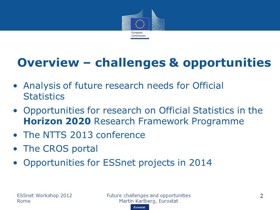 Eurostat Overview – challenges & opportunities Analysis of future research needs for Official Statistics Opportunities for research on Official Statistics in the Horizon 2020 Research Framework Programme The NTTS 2013 conference The CROS portal Opportunities for ESSnet projects in 2014 ESSnet Workshop 2012 Rome Future challenges and opportunities Martin Karlberg, Eurostat 2