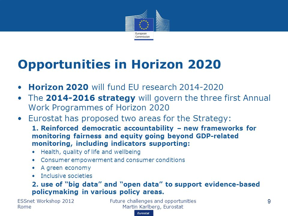 Eurostat Opportunities in Horizon 2020 Horizon 2020 will fund EU research 2014-2020 The 2014-2016 strategy will govern the three first Annual Work Programmes of Horizon 2020 Eurostat has proposed two areas for the Strategy: 1.