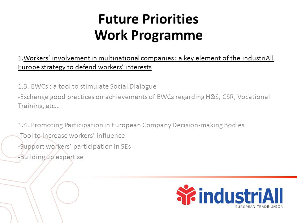 Future Priorities Work Programme 1.Workers' involvement in multinational companies : a key element of the industriAll Europe strategy to defend workers' interests 1.3.