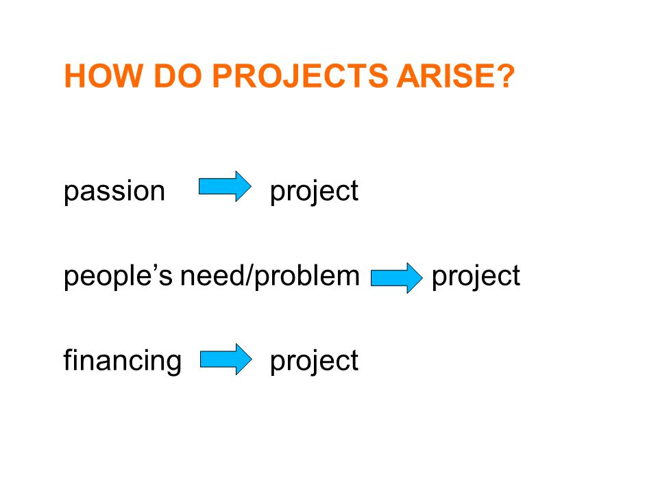 HOW DO PROJECTS ARISE passion project people's need/problem project financing project