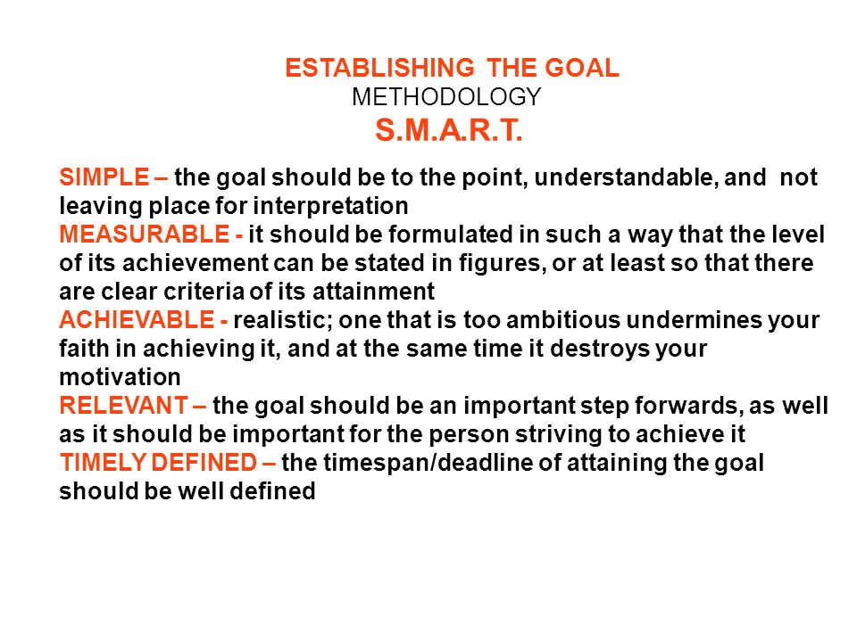 ESTABLISHING THE GOAL METHODOLOGY S.M.A.R.T.