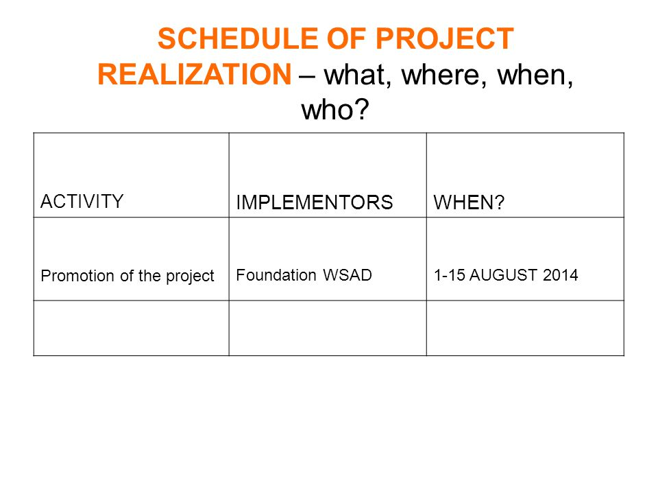 SCHEDULE OF PROJECT REALIZATION – what, where, when, who.