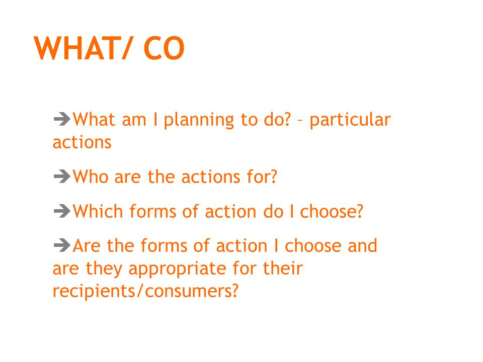 WHAT/ CO  What am I planning to do. – particular actions  Who are the actions for.