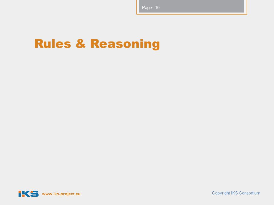 www.iks-project.eu Page: Rules & Reasoning Copyright IKS Consortium 10