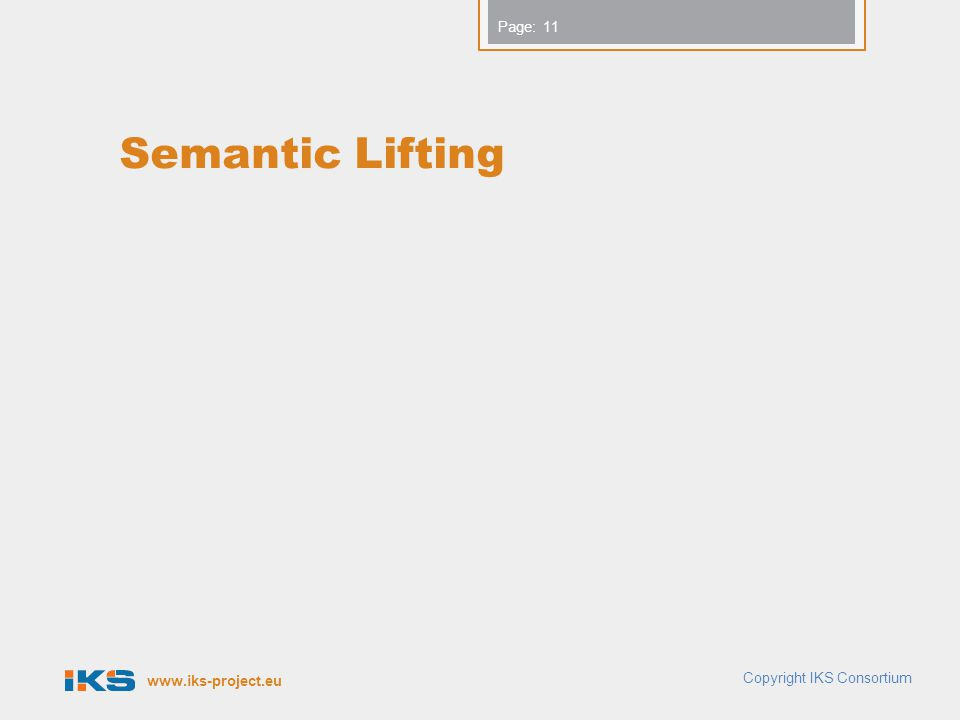 www.iks-project.eu Page: Semantic Lifting Copyright IKS Consortium 11