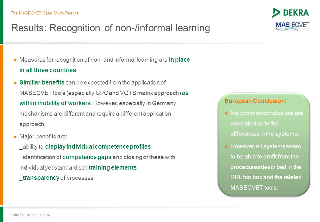 Seite 10 © 2011 DEKRA Results: Recognition of non-/informal learning ●Measures for recognition of non- and informal learning are in place in all three countries.