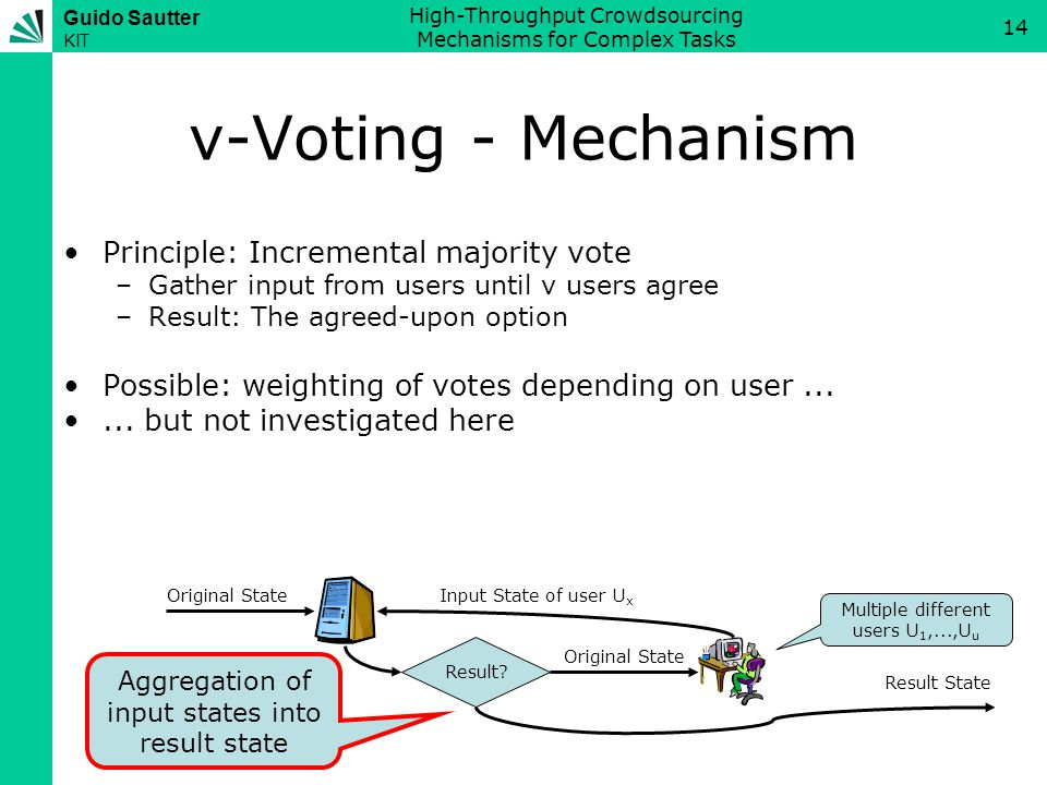 Guido Sautter KIT High-Throughput Crowdsourcing Mechanisms for Complex Tasks 14 v-Voting - Mechanism Principle: Incremental majority vote –Gather input from users until v users agree –Result: The agreed-upon option Possible: weighting of votes depending on user......