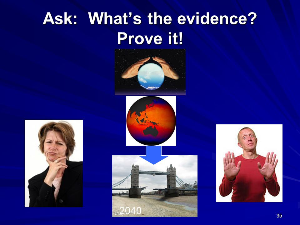 Ask: What's the evidence Prove it! 2040 35