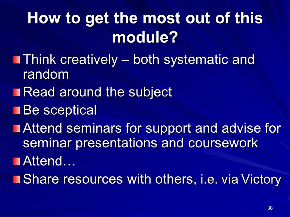 How to get the most out of this module.