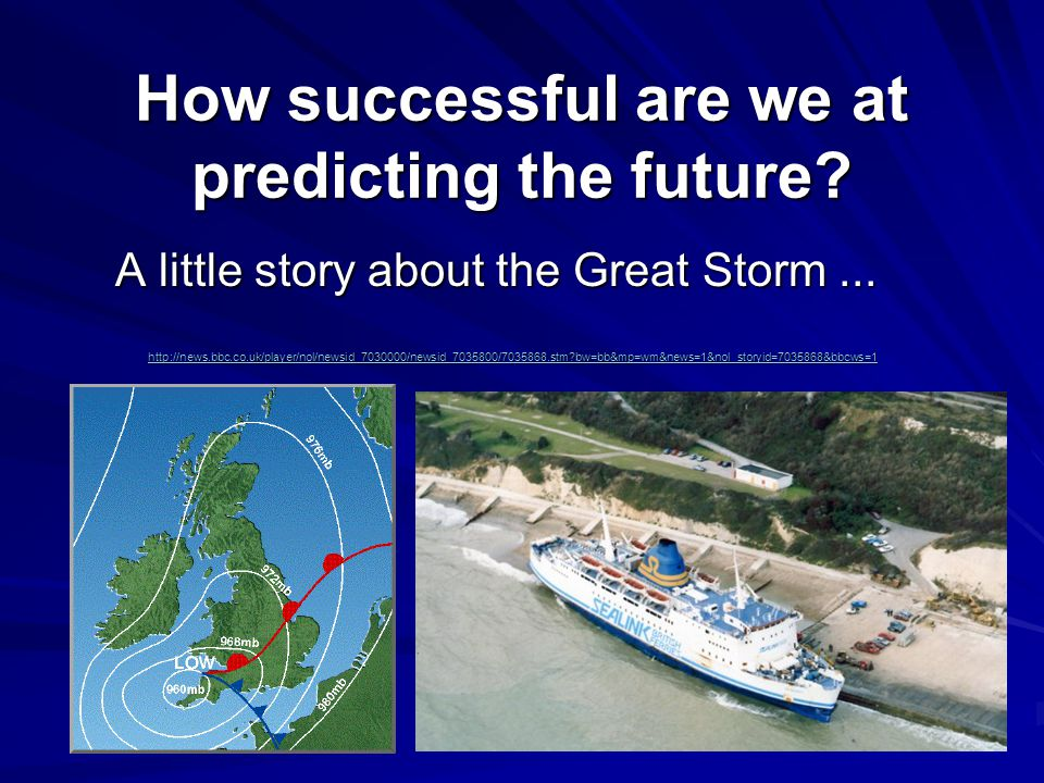 How successful are we at predicting the future. A little story about the Great Storm...