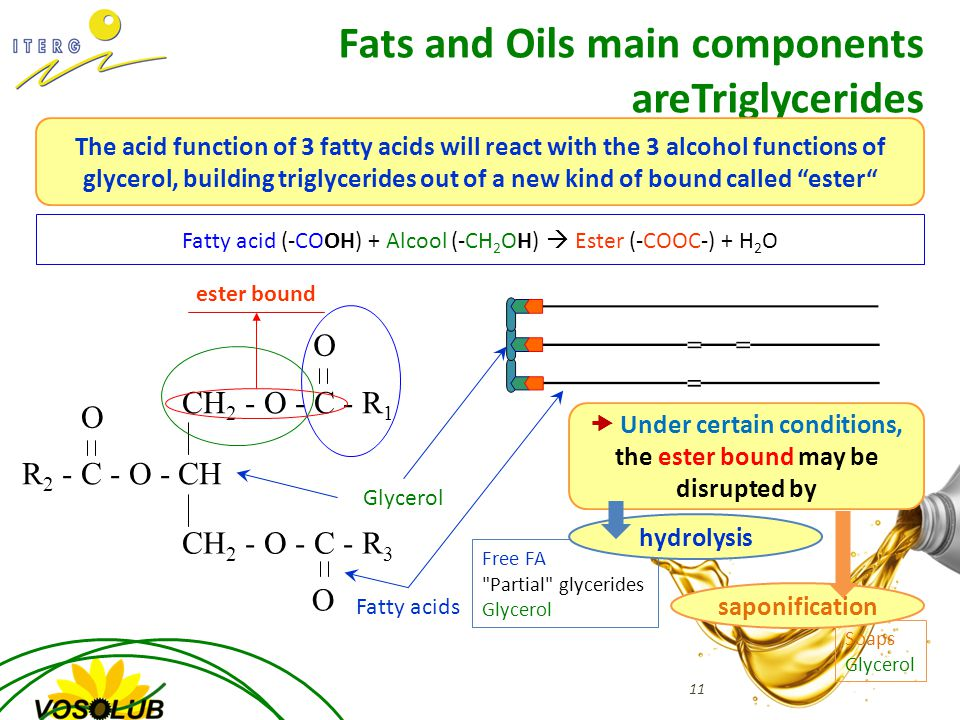 Soaps Glycerol Free FA Partial glycerides Glycerol CH 2 - O - C - R 1 O CH 2 - O - C - R 3 O R 2 - C - O - CH O Fatty acid (-COOH) + Alcool (-CH 2 OH)  Ester (-COOC-) + H 2 O ester bound Fats and Oils main components areTriglycerides The acid function of 3 fatty acids will react with the 3 alcohol functions of glycerol, building triglycerides out of a new kind of bound called ester Glycerol Fatty acids  Under certain conditions, the ester bound may be disrupted by hydrolysis saponification 11