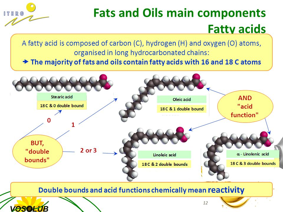 Fats and Oils main components Fatty acids 12 A fatty acid is composed of carbon (C), hydrogen (H) and oxygen (O) atoms, organised in long hydrocarbonated chains:  The majority of fats and oils contain fatty acids with 16 and 18 C atoms BUT, double bounds 0 1 2 or 3 AND acid function Double bounds and acid functions chemically mean reactivity